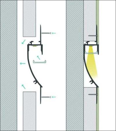 schema di montaggio profilo led a parete praio