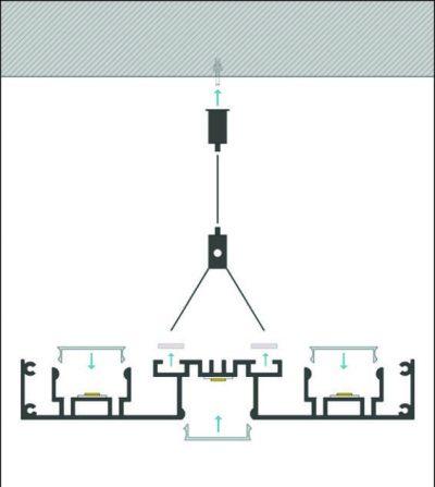 schema di montaggio profilo led a sospensione perry