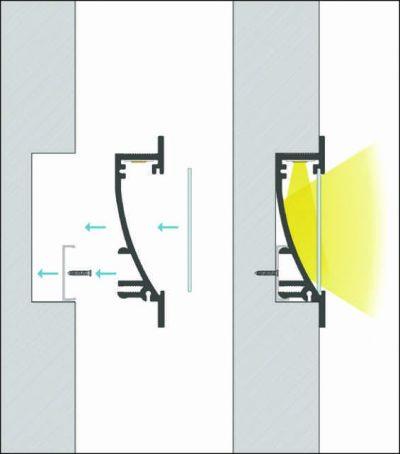schema di montaggio profilo led da incasso argon