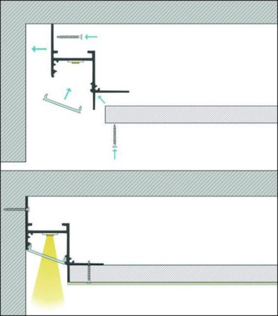 schema di montaggio profilo led da incasso deli