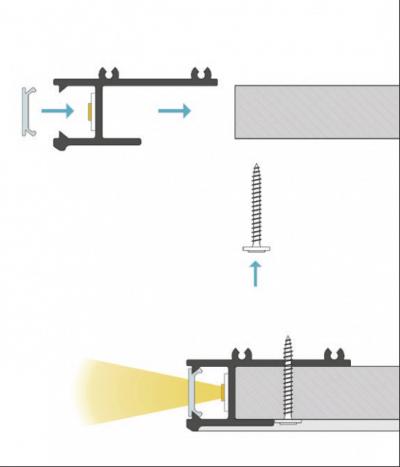 schema di montaggio profilo led da incasso laser
