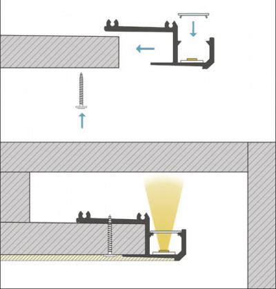 schema di montaggio profilo led da incasso linus