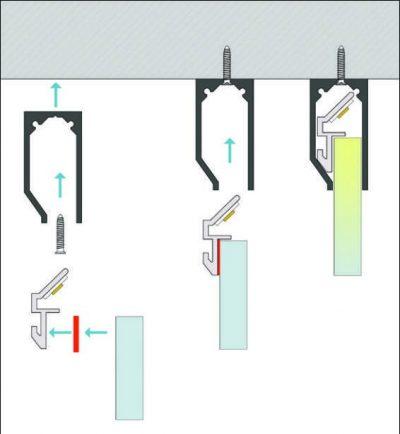 schema di montaggio profilo led speciale moso